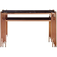 Product photograph showing Levinson Marble Top Console Table With Rose Gold Frame