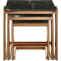 Product photograph showing Levinson Marble Top Nest Of Tables With Rose Gold Frame