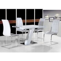 Product photograph showing Lexus Dining Table In White High Gloss And 4 Torres White Chairs