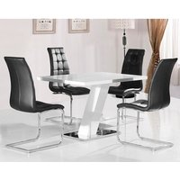 Product photograph showing Lexus Dining Table In White High Gloss And 4 Torres Black Chairs
