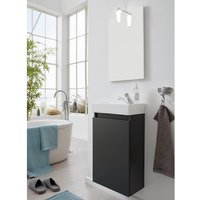 Product photograph showing Liano Bathroom Furniture Set In Grey With Basin And Led