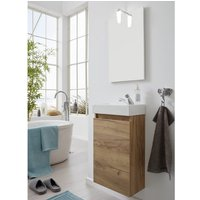 Product photograph showing Liano Bathroom Furniture Set In Gold Oak With Basin And Led