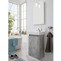 Product photograph showing Liano Bathroom Furniture Set In Stone Grey With Basin And Led