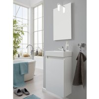 Product photograph showing Liano Bathroom Furniture Set In White With Basin And Led