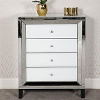 Liberty Chest Of Drawers In Silver And White Gloss With 4 Drawer