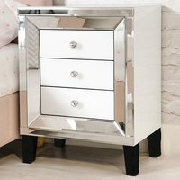 Liberty Mirrored Bedside Cabinet In Silver And White Gloss