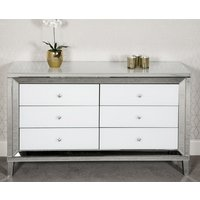 Product photograph showing Liberty Mirrored Large Chest Of Drawers In White High Gloss