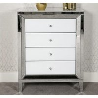 Product photograph showing Liberty Mirrored Medium Chest Of Drawers In White High Gloss