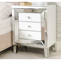 Product photograph showing Liberty Mirrored Small Chest Of Drawers In White High Gloss