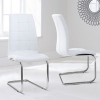 Liesma PU White Dining Chairs With Hoop Leg In Pair
