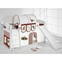Product photograph showing Lilla Slide Children Bed In White With Dinosaur Brown Curtains