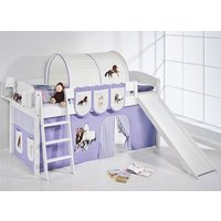 Product photograph showing Lilla Slide Children Bed In White With Horses Purple Curtains