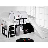 Product photograph showing Lilla Slide Children Bed In White And Pirate Black White Curtain