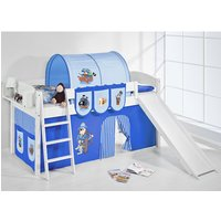 Product photograph showing Lilla Slide Children Bed In White With Pirate Blue Curtains