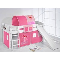 Product photograph showing Lilla Slide Children Bed In White With Princess Curtains