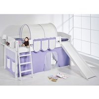 Product photograph showing Lilla Slide Children Bed In White With Purple Curtains