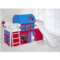 Product photograph showing Lilla Slide Children Bed In White With Spiderman Curtains