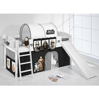 Product photograph showing Lilla Slide Children Bed In White With Star Wars Black Curtains