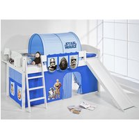 Product photograph showing Lilla Slide Children Bed In White With Star Wars Blue Curtains