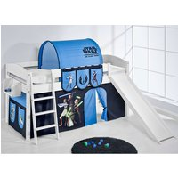 Product photograph showing Lilla Slide Children Bed In White With Star Wars Clone Curtains