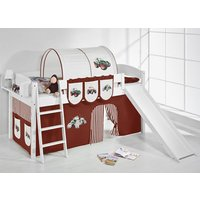 Product photograph showing Lilla Slide Children Bed In White With Tractor Brown Curtains
