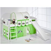 Product photograph showing Lilla Slide Children Bed In White With Tractor Green Curtains