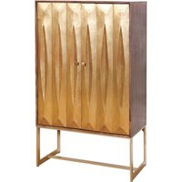 Product photograph showing Lille Display Wine Cabinet In Gold With 2 Doors