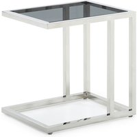 Product photograph showing Lille Tinted Glass Top End Table With Stainless Steel Base