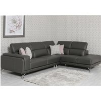 Linea Faux Leather Corner Sofa Bed In Grey