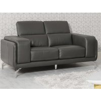 Product photograph showing Linea Faux Leather Fixed 2 Seater Sofa In Grey