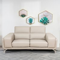 Product photograph showing Linea Faux Leather Fixed 2 Seater Sofa In Putty