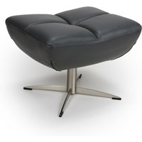 Product photograph showing Linea Faux Leather Footstool In Grey