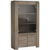 image-Linosa Glass Display Cabinet In Light Concrete Effect And Walnut