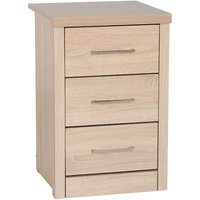 Product photograph showing Lisbon Wooden Bedside Cabinet In Light Oak Veneer With 3 Drawers