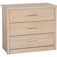 Product photograph showing Lisbon Wooden Chest Of Drawers In Light Oak Veneer With 3 Drawer