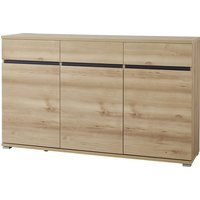 Product photograph showing Lissabon Wooden 3 Doors 3 Drawers Sideboard In Noble Beech