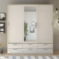 Product photograph showing Liston Mirrored Sliding Doors Wardrobe In Oak And White Gloss