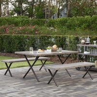 Cosco Living Farmstead Dining Set In Dark Brown With 2 Benches