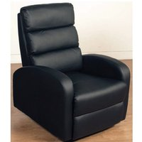 Livorno Faux Leather Recliner Chair In Black