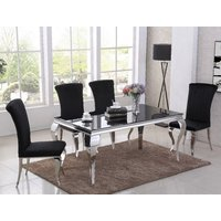 Product photograph showing Liyam Black Glass Top Marble Dining Table With 4 Black Chairs