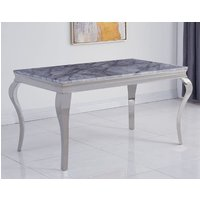 Liyam Large Marble Dining Table In Grey With Chrome Legs