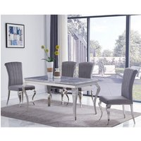 Liyam Large White Marble Dining Table With 6 Grey Chairs