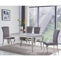 Product photograph showing Liyam Small Grey Marble Dining Table With 4 Grey Chairs