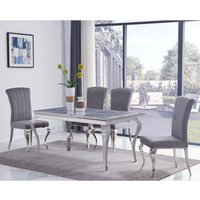 Product photograph showing Liyam Small White Marble Dining Table With 4 Grey Chairs