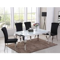 Product photograph showing Liyam White Glass Top Marble Dining Table With 4 Black Chairs