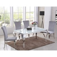 Product photograph showing Liyam White Glass Top Marble Dining Table With 4 Grey Chairs