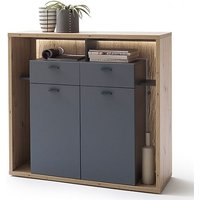 Product photograph showing Lizzano Led 2 Doors 2 Drawers Highboard In Oak And Royal Grey