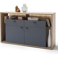 Product photograph showing Lizzano Led 2 Doors 2 Drawers Sideboard In Oak And Royal Grey