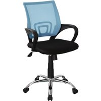 Product photograph showing Loft Fabric Blue Mesh Back Study Chair In Black