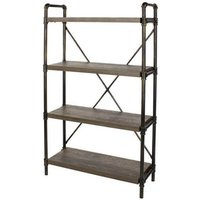 Product photograph showing Loft Home 4 Tier Bookcase In Dark Oak With Pipe Design Uprights